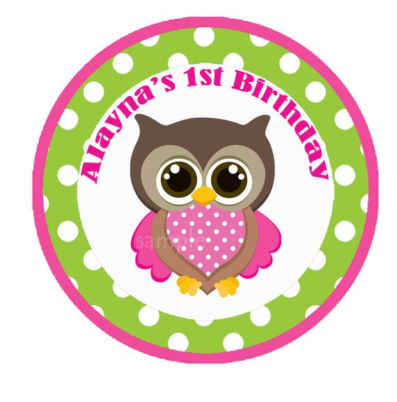 Girl Owl Cupcake Toppers Small Party Circle by ThatPartyChick, $8.00