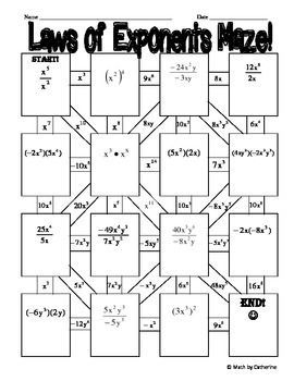 Laws of Exponents Maze | Math lessons, Algebra activities ...