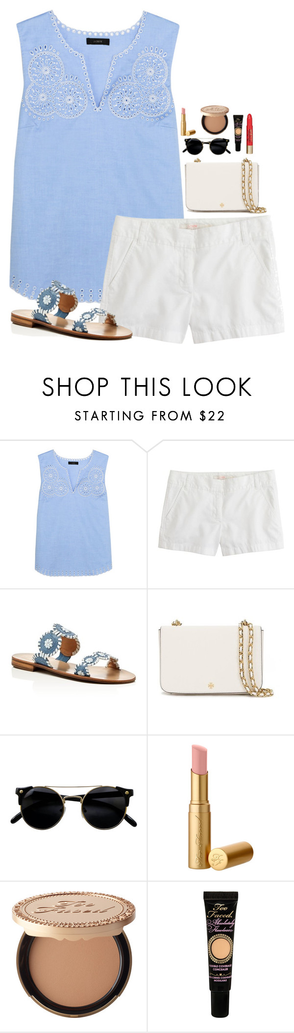 """""""Baby, I can feel your halo"""" by leawhite ❤ liked on Polyvore featuring J.Crew, Jack Rogers, Tory Burch and Too Faced Cosmetics"""