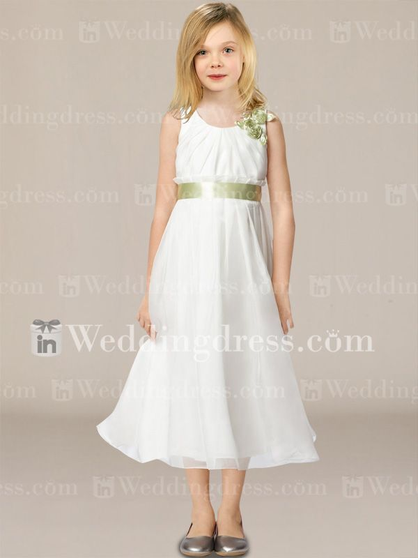 Tea Length Organza Flower Girl Dress with Flowers Fl198 ...