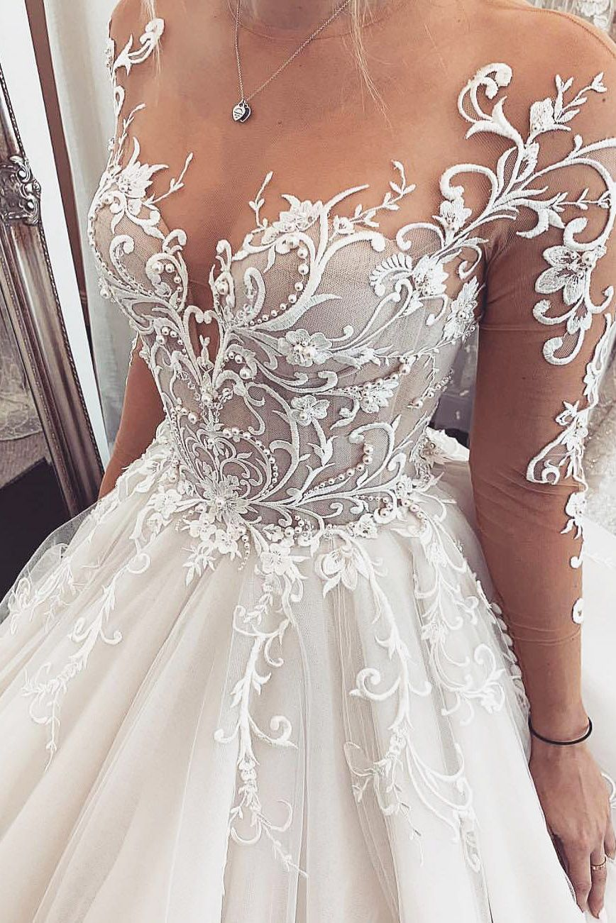 Illusion Sleeves Appliques Chapel Train Wedding Dress With Sheer Back Wedding Dresses Lace Ball Gowns Wedding Wedding Dress Trends