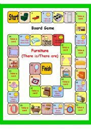 English Worksheet Furniture There Is There Are Board Game Kouch