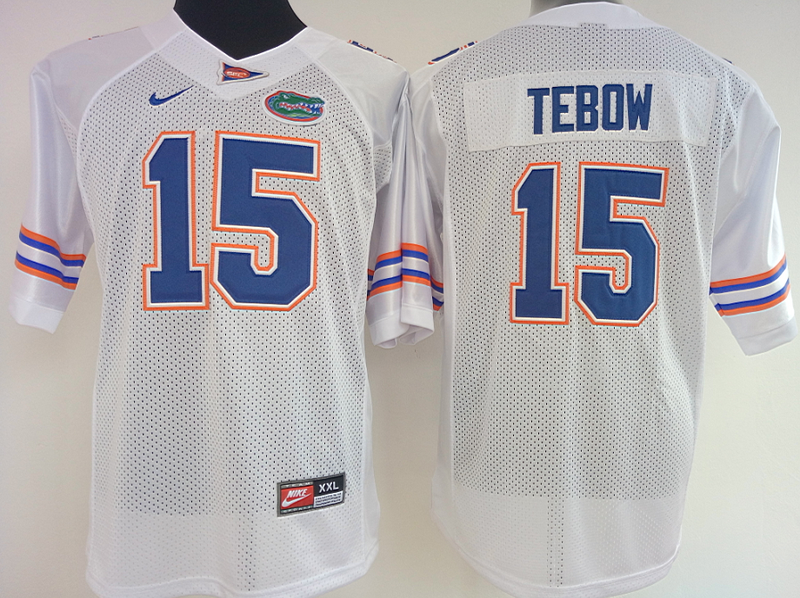 9888a9579 Womens Florida Gators White  15 Tim Tebow jersey