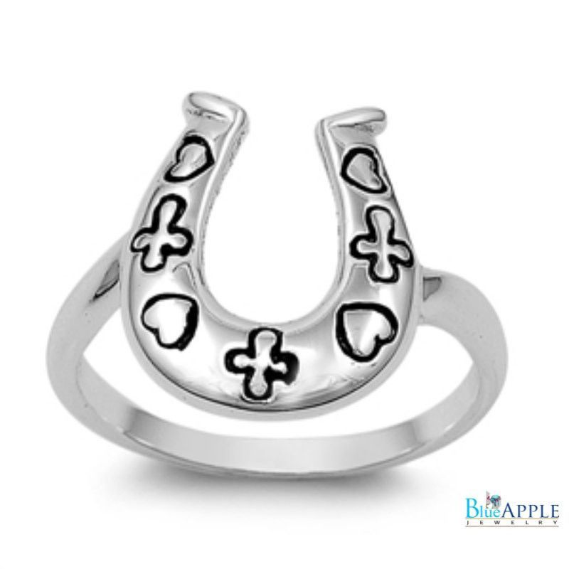 HorseShoe Ring Heart Cross Horse Shoe Ring Solid 925 Sterling Silver Simple Plain Horse Shoe Jewelry Good Luck Gift