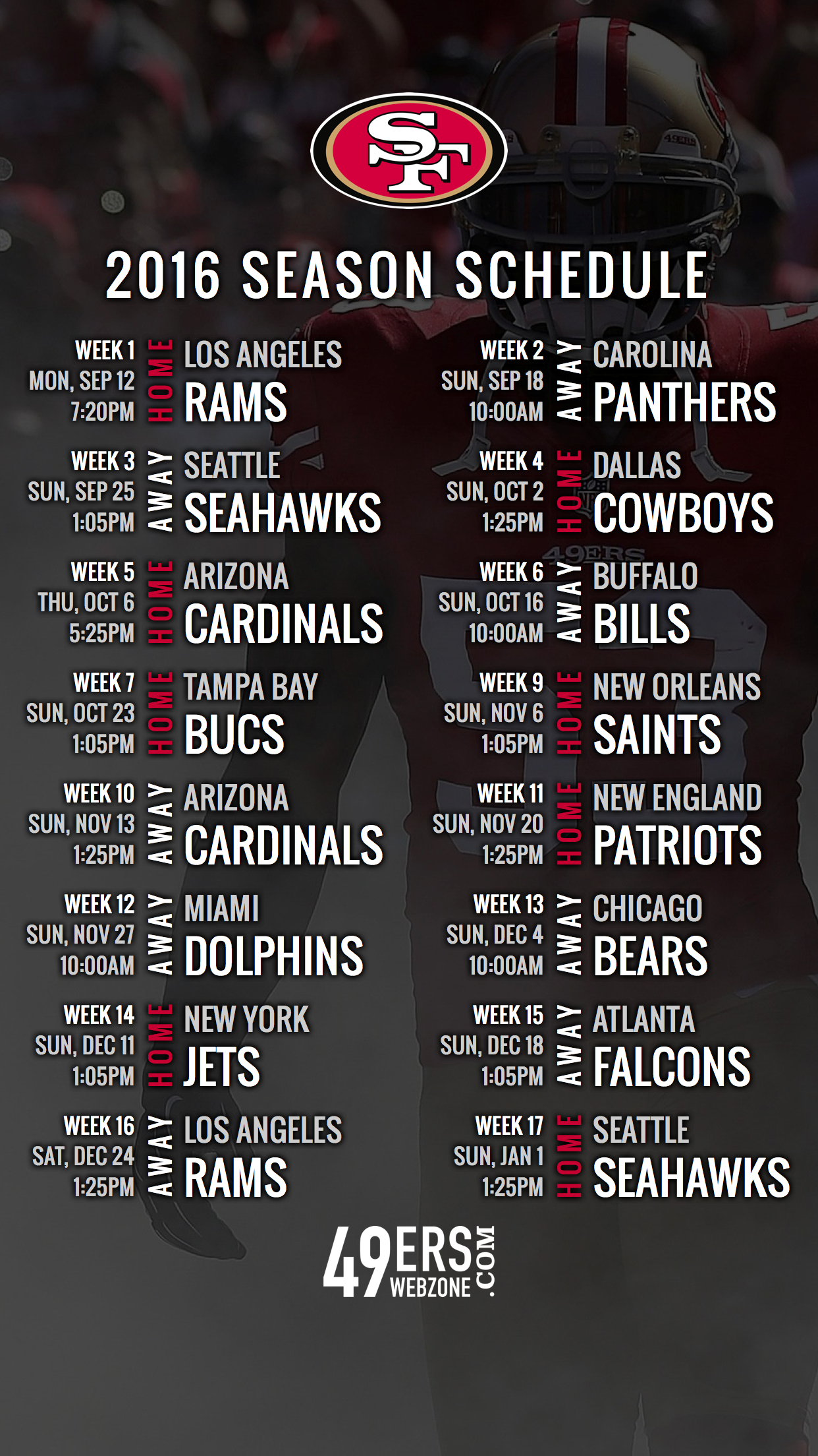 San francisco 49ers 2016 schedule wallpaper for your phone pinterest san francisco 49ers 2016 schedule wallpaper for your phone voltagebd Choice Image