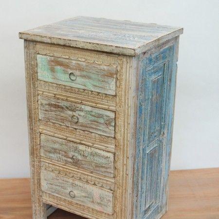 Velador 4 cajones madera reciclada estilo albayalde for Comedores en concepcion