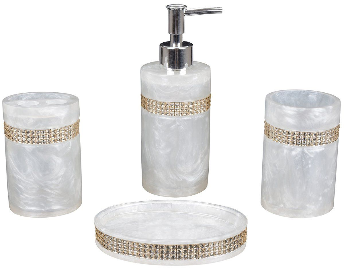 Aimone Bathroom Decor Shower Accessories Set Of 4 Pieces Includes Soap Dispenser Toothbrush H Shower Accessories Vintage Bathroom Accessories Bathroom Decor