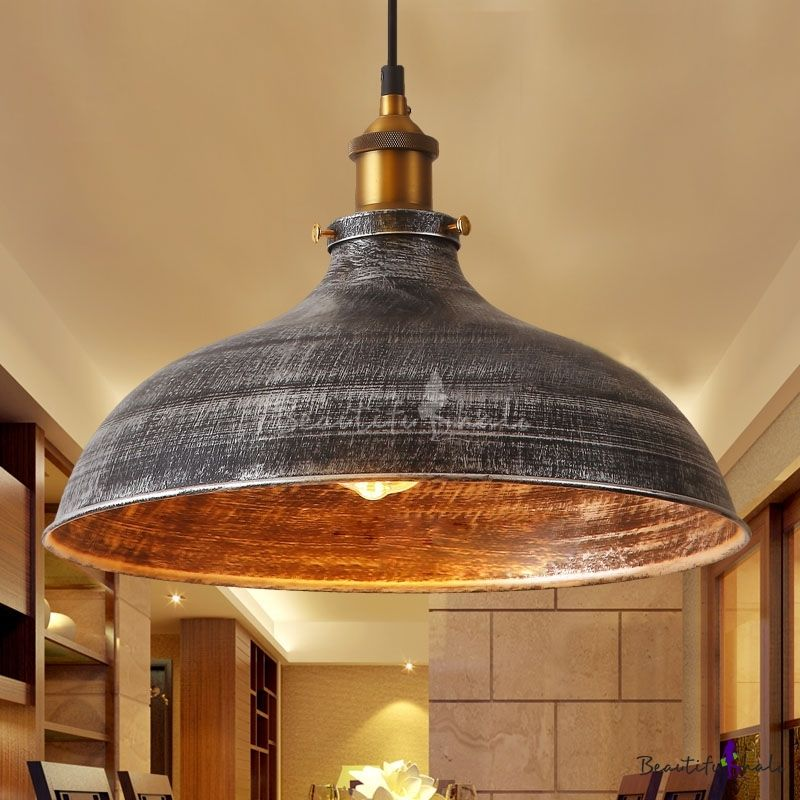 Aged Silver Dome Pendant Lighting Industrial Kitchen