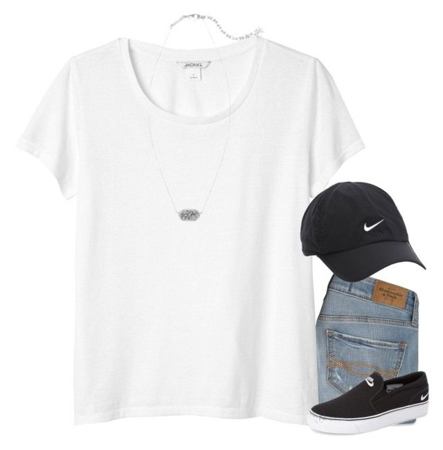 """""""Goodnight!"""" by meljordrum ❤ liked on Polyvore featuring Abercrombie & Fitch, Monki, NIKE and Kendra Scott"""