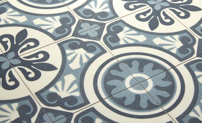 Saint Maclou | Sol vinyle EMOTION, carreau ciment bleu, rouleau 4 m ...