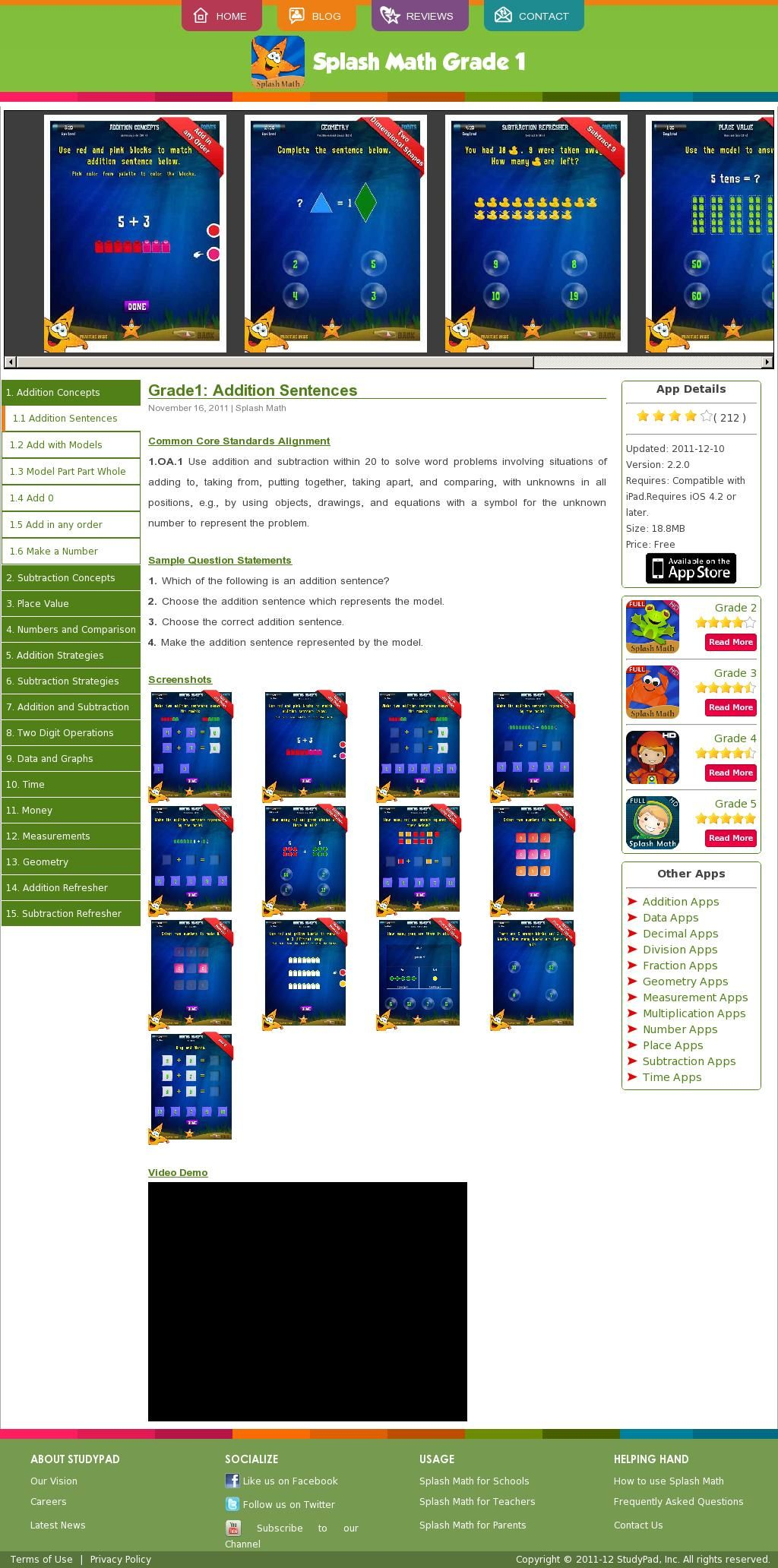 First Grade Splash Math App From Studypad