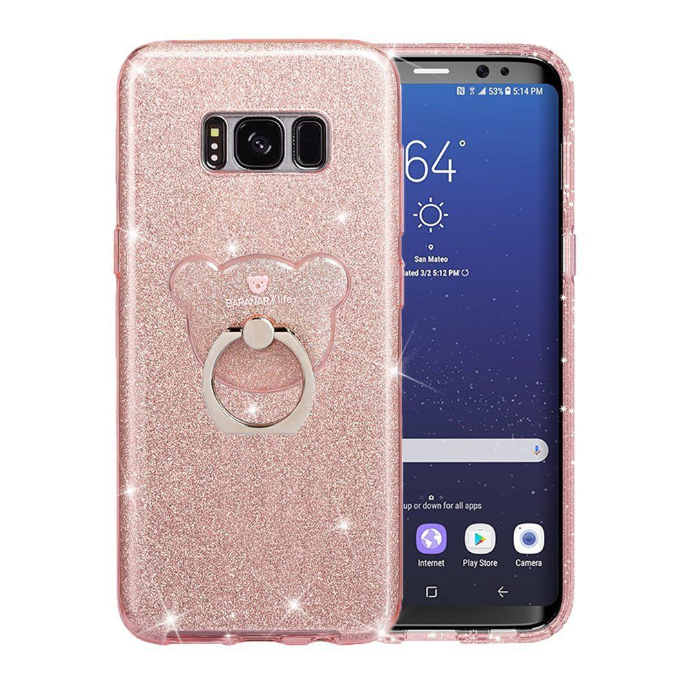 Galaxy S8 Case Vego Bling Glitter Flexible Slim Rubber Anti Shock Case For Samsung Galaxy S8 Rose Gold Luxury Bling Bling Design Solid Samsung Galaxy Computer Accessories Phone
