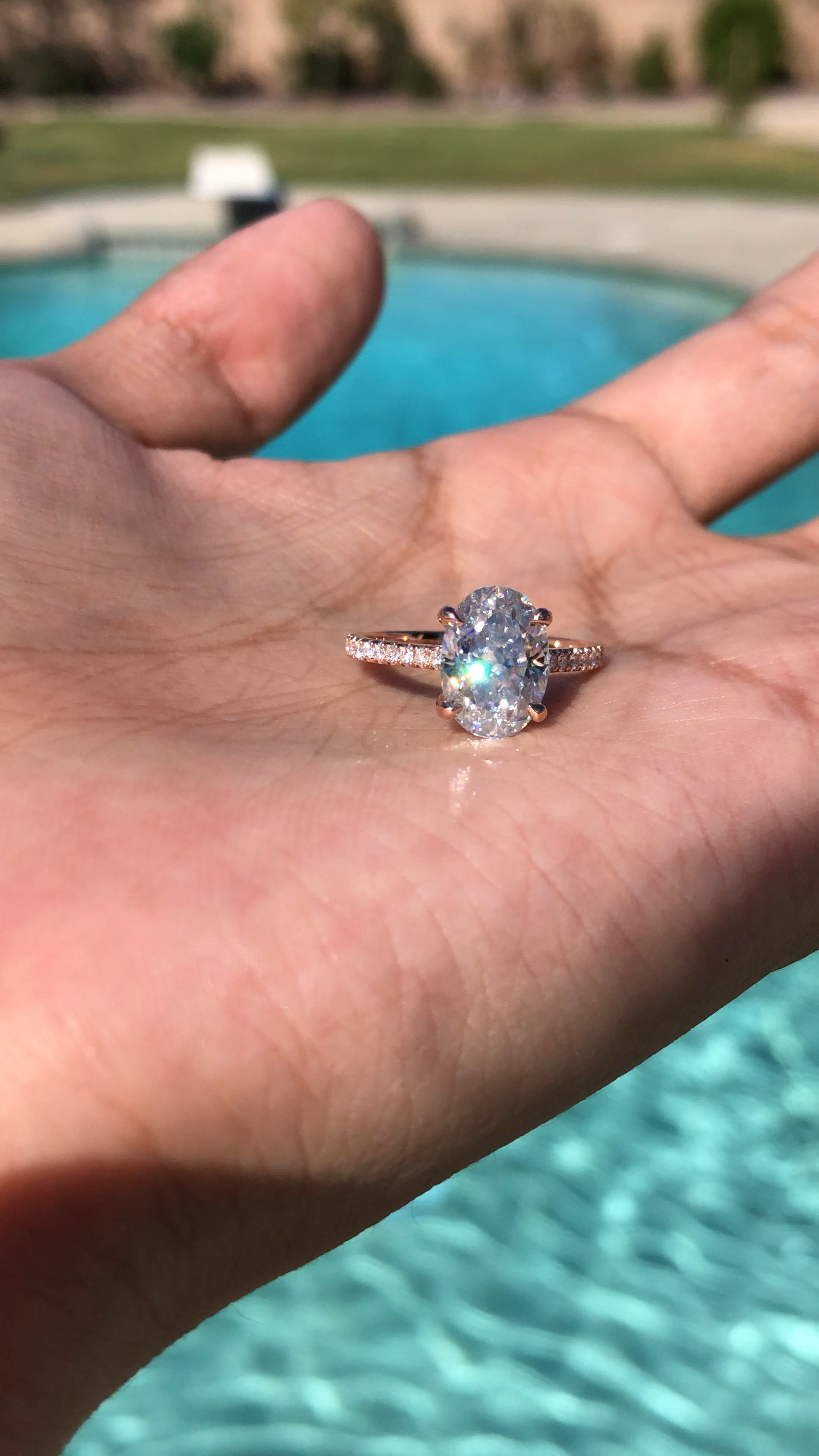 3 Carat Crushed Ice Oval Moissanite & Diamond Hidden Halo Ring 14k Rose Gold