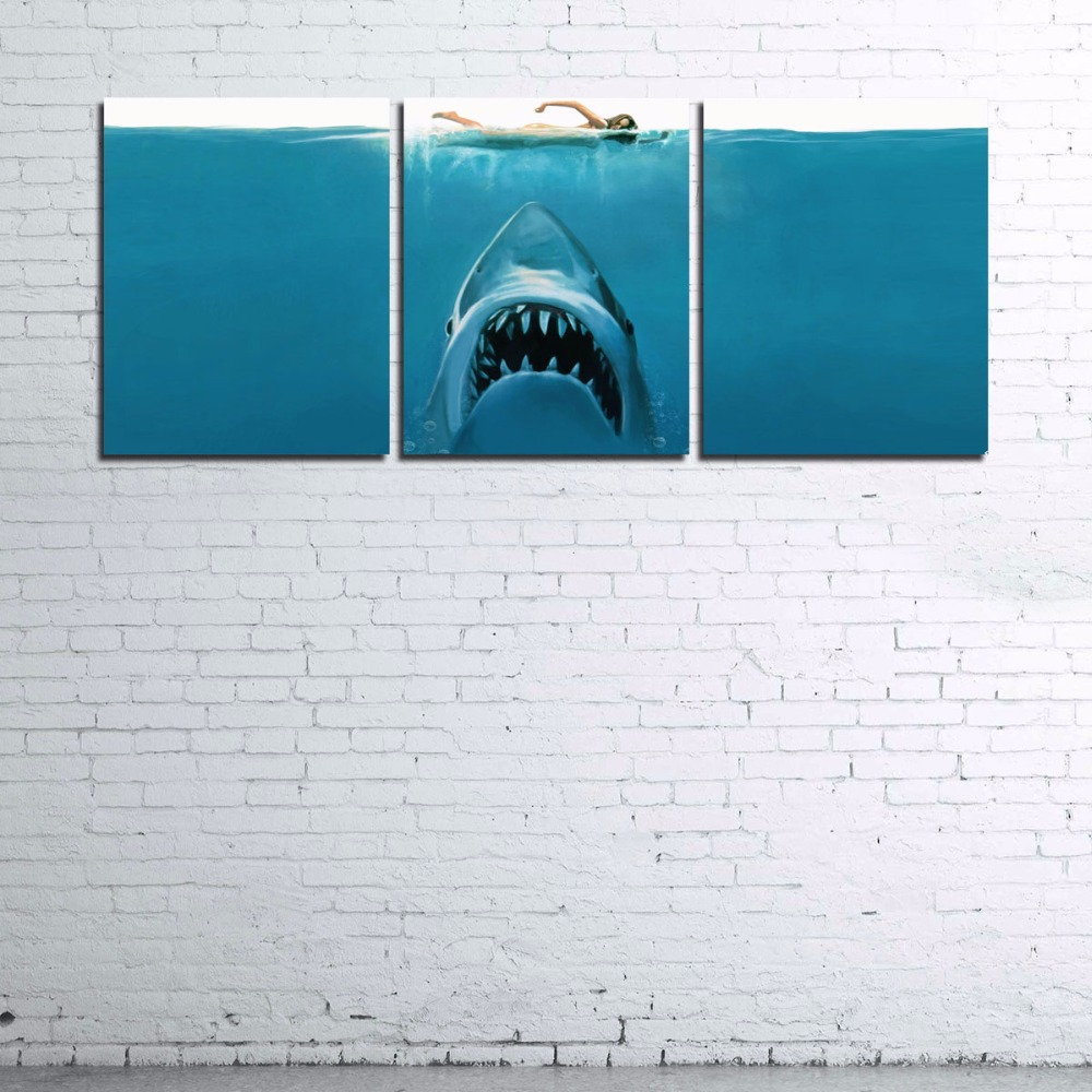 Modular Home Decor Wall Art Frame For Living Room Poster Hd Printed Shark Pictures 3 Pieces Jaws Movie Canvas Pa Movie Canvas Painting Canvas Wall Art Wall Art