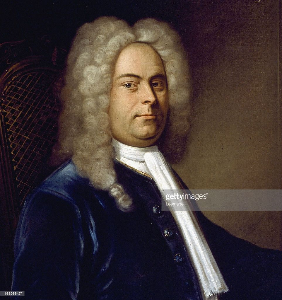 Portrait of German composer George Frideric Handel 1685-1759, detail, attributed to German painter Balthasar Denners 1685-1749. 1727. Civico Museo Bibliografico Musicale, Bologna Italy.