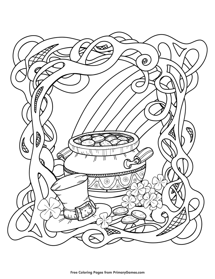 St. Patrick\'s Day Coloring Page: Rainbow and Pot of Gold