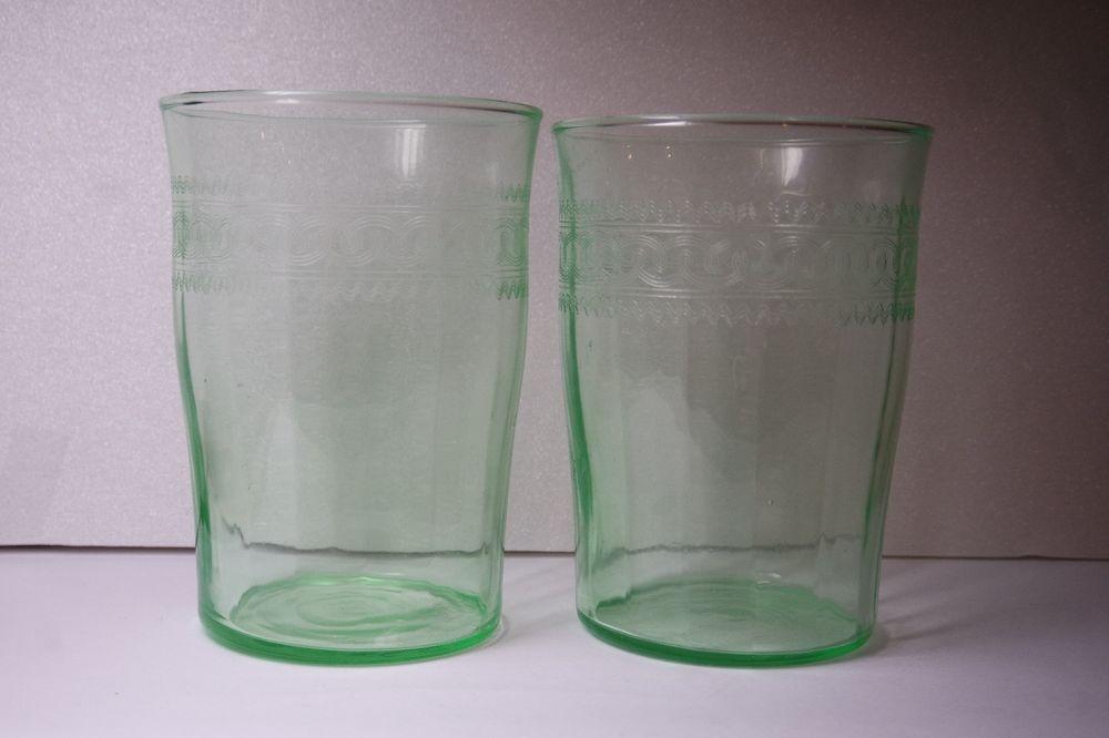 2 Antique Vintage Green Vaseline Etched Juice Drinking Glasses Tumbler Green Glassware Glassware Set Glassware