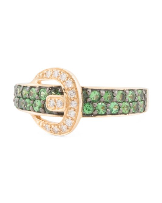 14k+Gold+Tsavorite+And+Diamond+Buckle+Ring