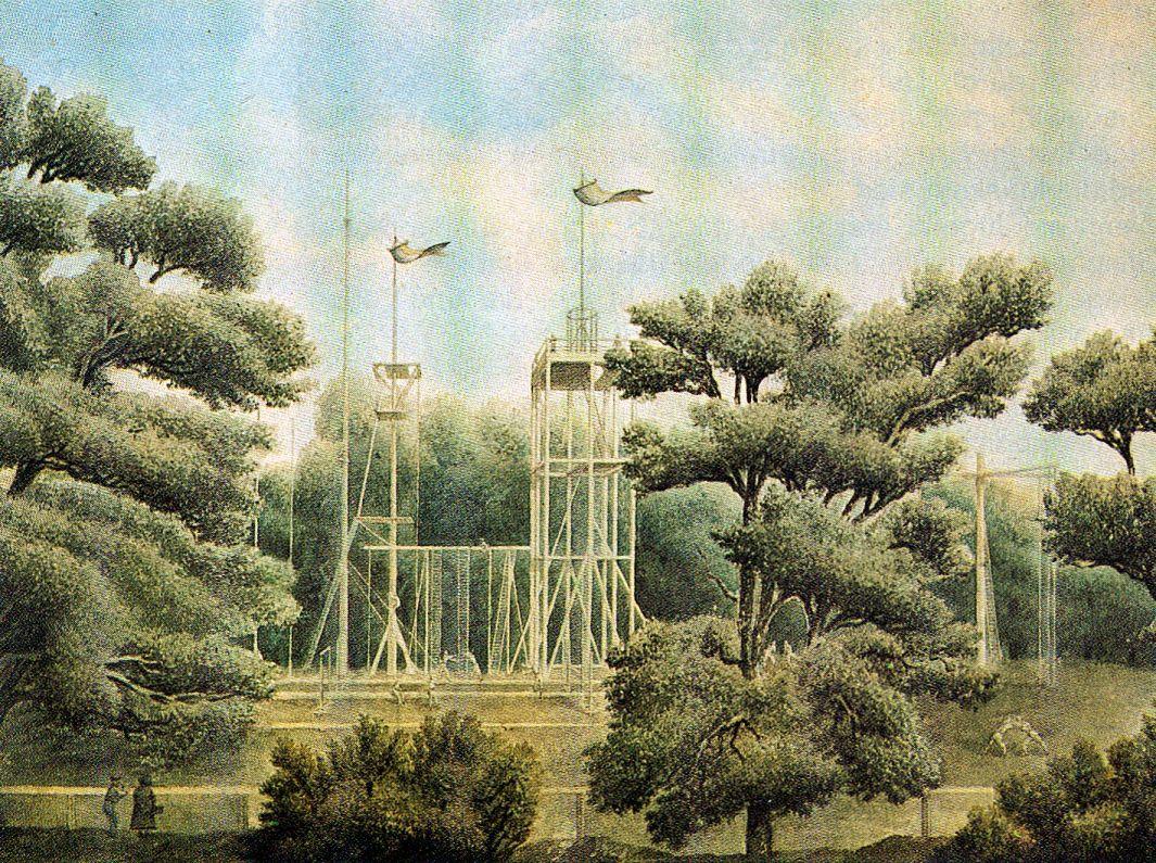 Berlin, Turnplatz in der Hasenheide nach den Vorgaben von Turnvater Jahn, Ansicht, 1818.