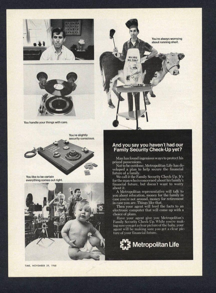 1968 metropolitan life insurance baby in vintage magazine