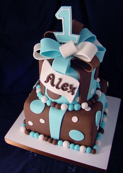 Strange Birthday Cake With Trendy Brown And Blue First Birthday Cakes Funny Birthday Cards Online Necthendildamsfinfo