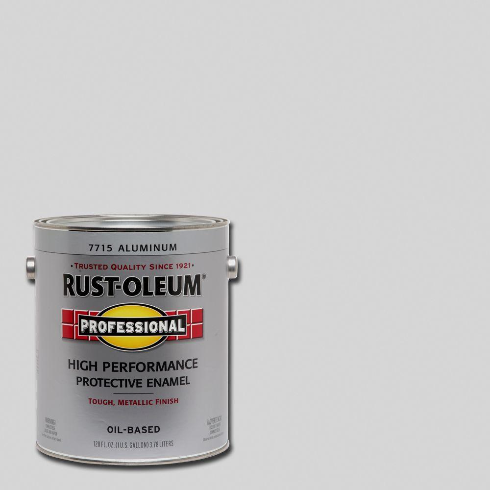 Rust Oleum Professional 1 Gal High Performance Protective Enamel Gloss Aluminum Oil Based Interior Exterior Paint 2 Pack 7715402 The Home Depot Rustoleum How To Clean Metal Exterior Paint