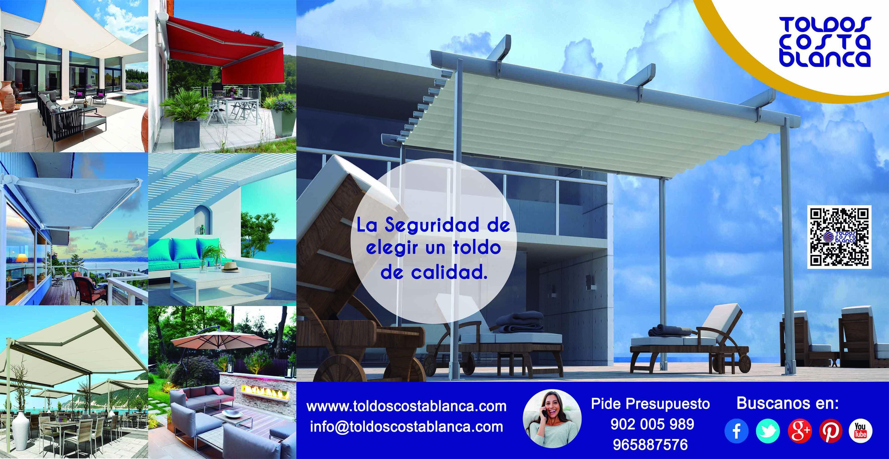 Diseño de valla publicitaria de Toldos Coata Blanca.