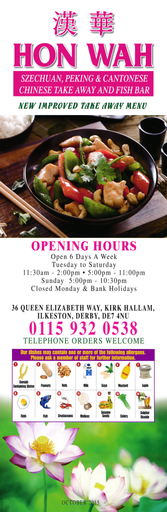 Menu For Hon Wah Chinese Takeaway Fish Chips In Kirk Hallam Fish And Chips Takeaway Chinese Takeaway Food