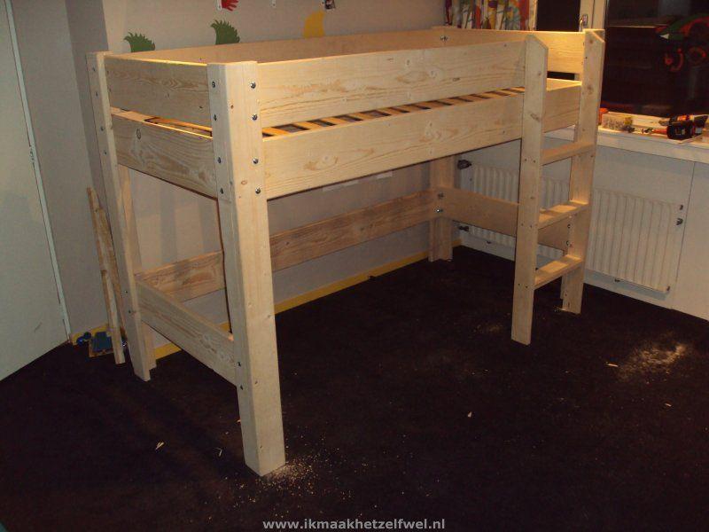 Halfhoogslaper Steigerhout Zitje : Bouwtekening hoogslaper bed steigerhout jesse s projects