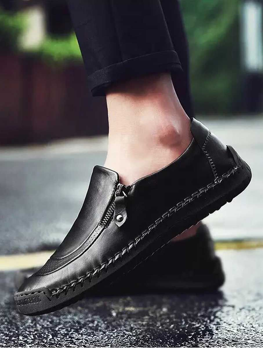 Black Retro Leather Slip On Shoe Loafer Zip On Side Leather Shoes Men Loafers Men Leather Slip On Shoes