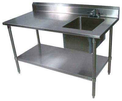 John Boos Ept6r5 3060gsk R Work Table Prep Sink 60in W X 30in D Stainless Steel Work Table Stainless Steel Prep Table Commercial Kitchen Sinks
