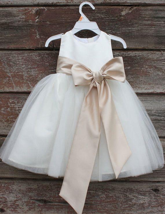 49e0e588d6f39 Flower Girl Dresses - IVORY with Champagne (FD0FL) - Wedding Easter ...