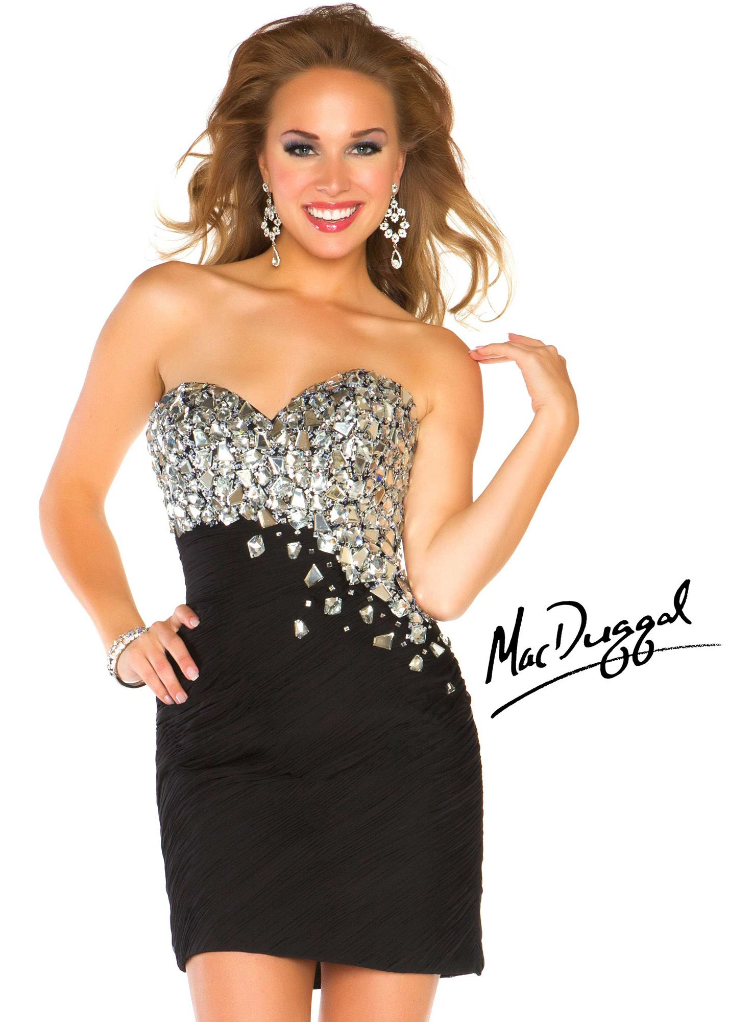 Free Shipping on New Mac Duggal 64582N black beaded short sheath homecoming dresses available at RissyRoos.com.