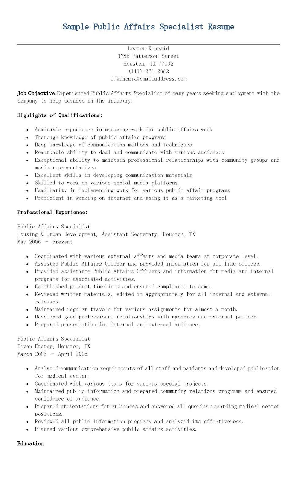 Sample Public Affairs Specialist Resume Resume Affair Specialist