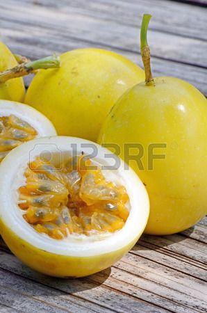 Yellow Passion Fruit Passiflora Edulis On Natural Background Yellow Passion Fruit Fruit Passiflora