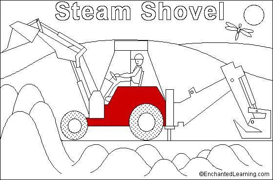 Steam Shovel online coloring page: EnchantedLearning.com