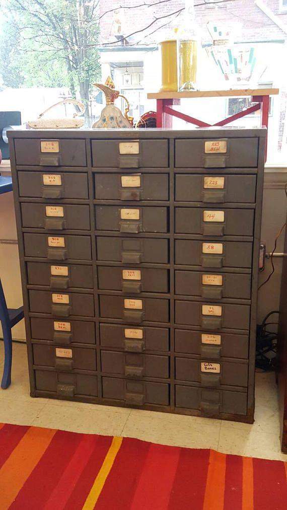 Vintage 1940 S Art Metal Index Card Filing Cabinet Latch Drawer Steampunk Filing Cabinet Cabinet Latch Antique File Cabinet