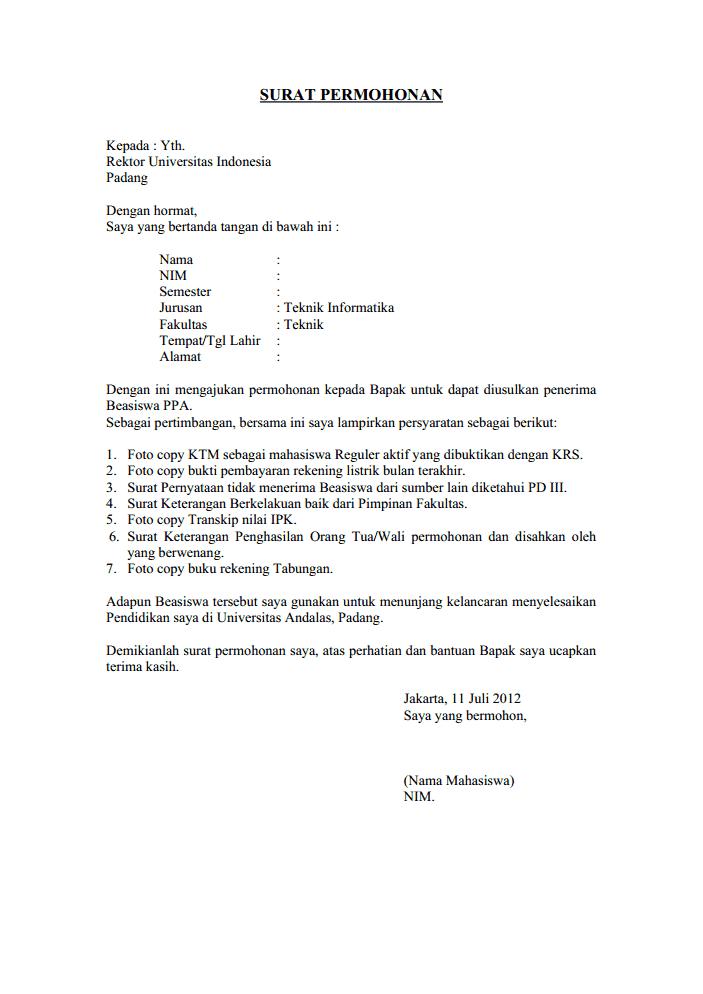 Contoh Surat Pengajuan Permohonan Surat Pendidikan Dasar Cv Kreatif