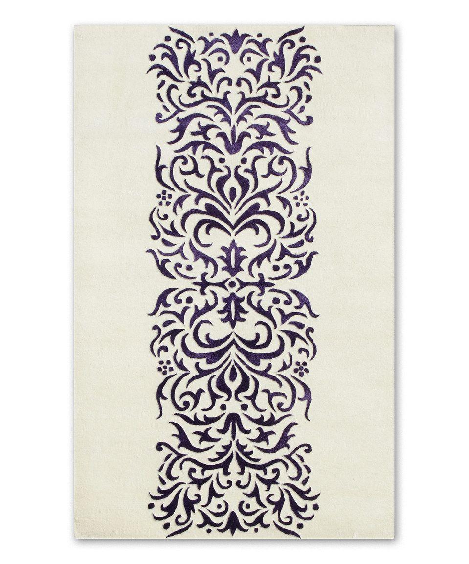Loving this ivory u purple wool rug on zulily zulilyfinds