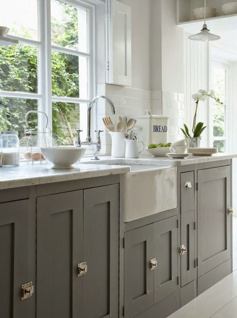 Shaker Style Cabinets, Apron Front Sink, Kitchen Interior Design, Grey  Cabinets, Kitchen Cabinets