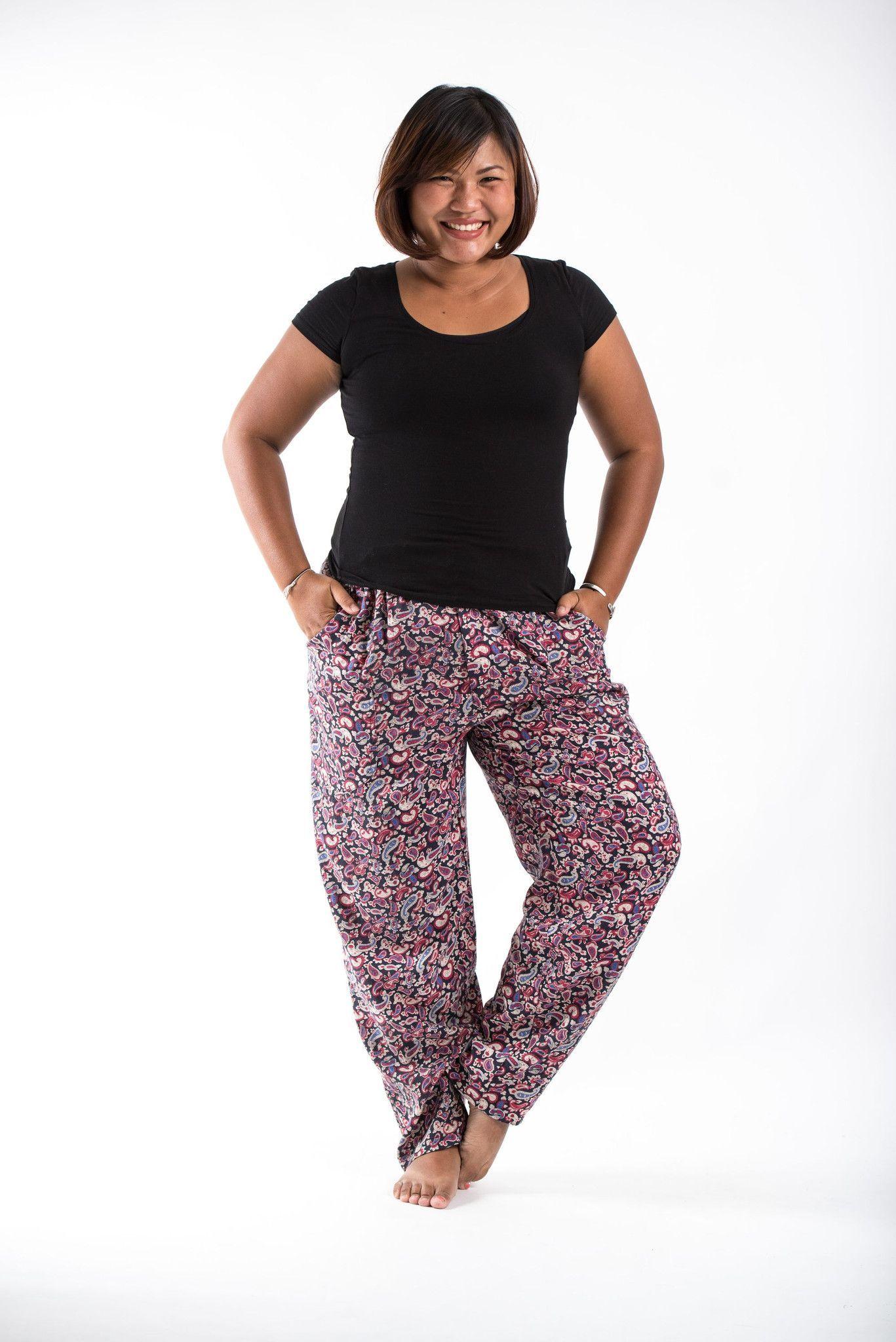 361d67cbd04ca PLUS SIZE Paisley Black Women s Drawstring Pants