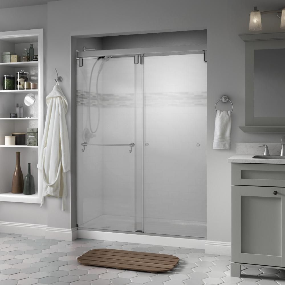 Delta Portman 60 X 71 1 2 In Frameless Mod Soft Close Sliding Shower Door In Nickel With 3 8 In 10mm Niebla Glass Sd3442786 Shower Doors Frameless Shower Doors Shower Door Handles