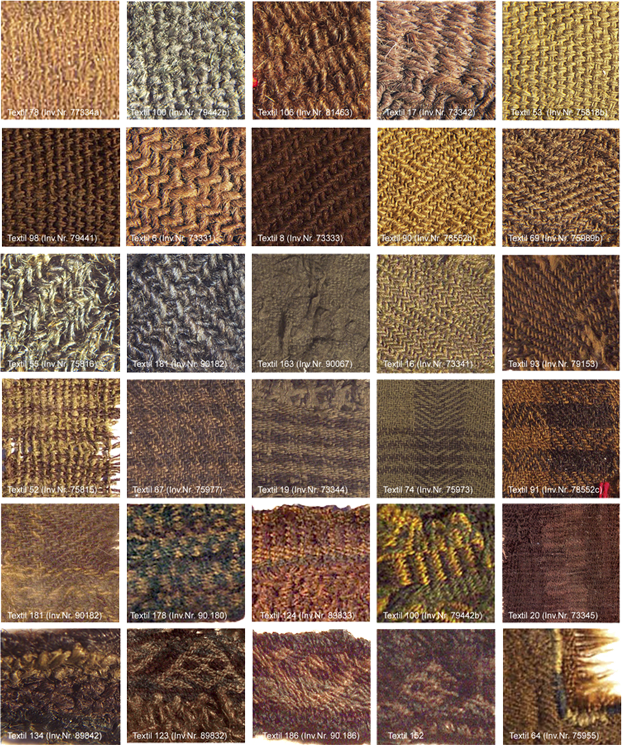various weave structures and patterns from textile fragments found at Hallstatt