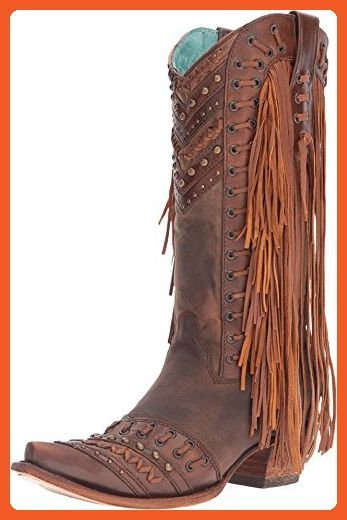 6f98ee162a4 Corral Women's 14-inch Brown/Tan Woven Details & Fringed Sides Snip ...