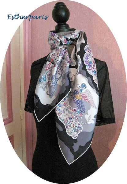 BNIB BLACK NUEES IMAGINAIRES GORGEOUS HERMES SCARF in Vêtements,  accessoires, Femmes  accessoires, e04e0ac8cbb