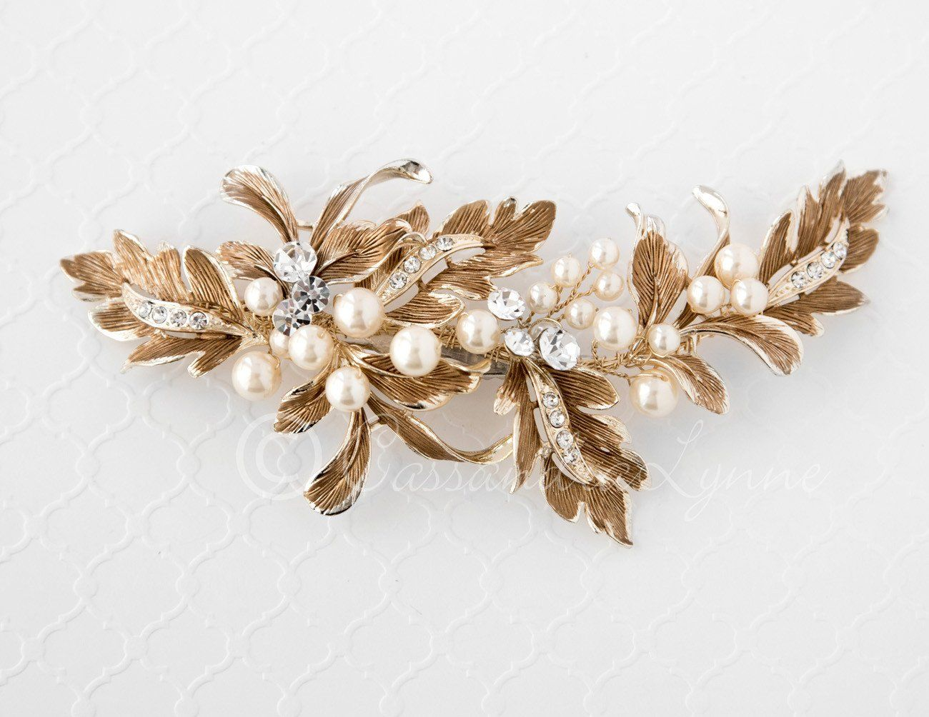 Wedding Hair Clip of Grecian Leaves and Pearls | Weddings, Wedding ...
