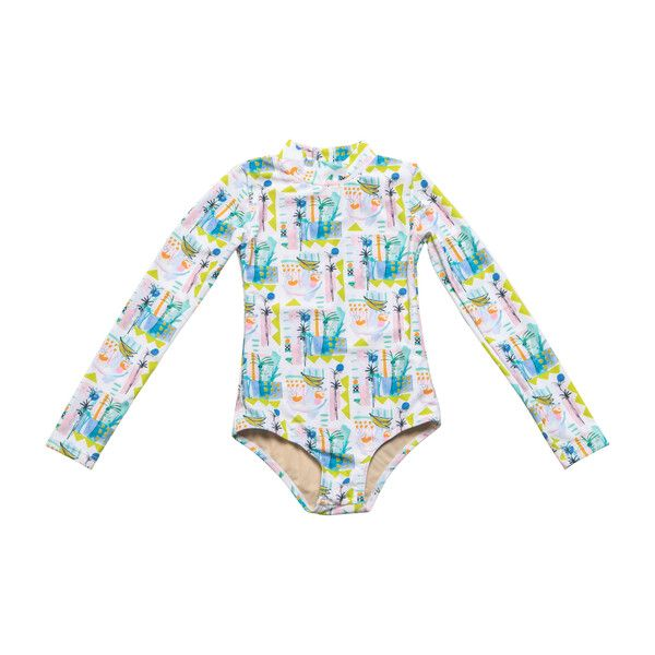 The Mini Kelly is the perfect go-to swimsuit for your stylish and active girl. This one piece swimsuit features a mock neck and thumbholes for complete coverage and has a back zip that doesnt get in the way while boogie boarding! Fully lined except for sleeves to allow for easy movement. We asked artist Sally King Benedict to create the ultimate chic summer print andboy did she do it.
