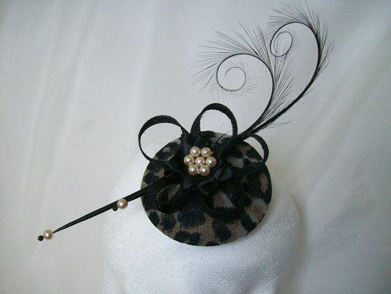 6d5186d42839d Leopard Print   Black Isadora Pheasant Curl Feather Wedding Percher  Fascinator Mini Hat - Made to Order