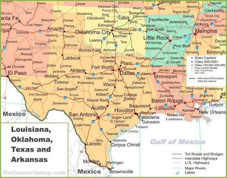 Map Of Louisiana And Texas Map of Louisiana, Oklahoma, Texas and Arkansas | Louisiana map