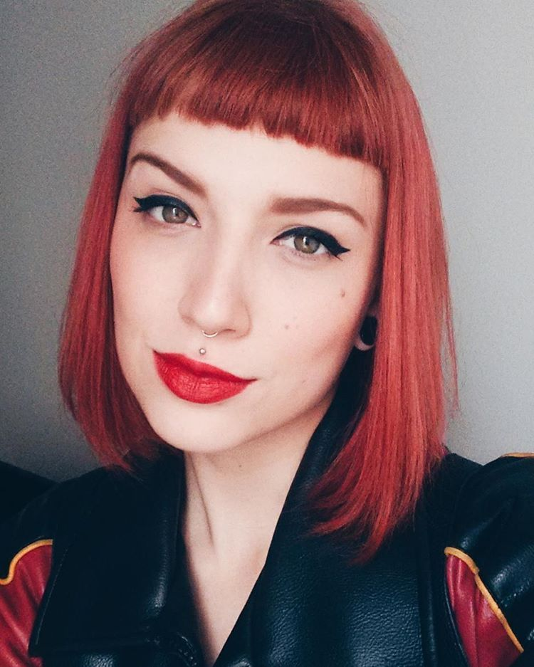 Red Bob Short Bangs Pinup Short Hair With Bangs Short Hair Styles Stylish Hair